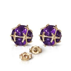 GOLD STUD EARRINGS WITH NATURAL AMETHYSTS